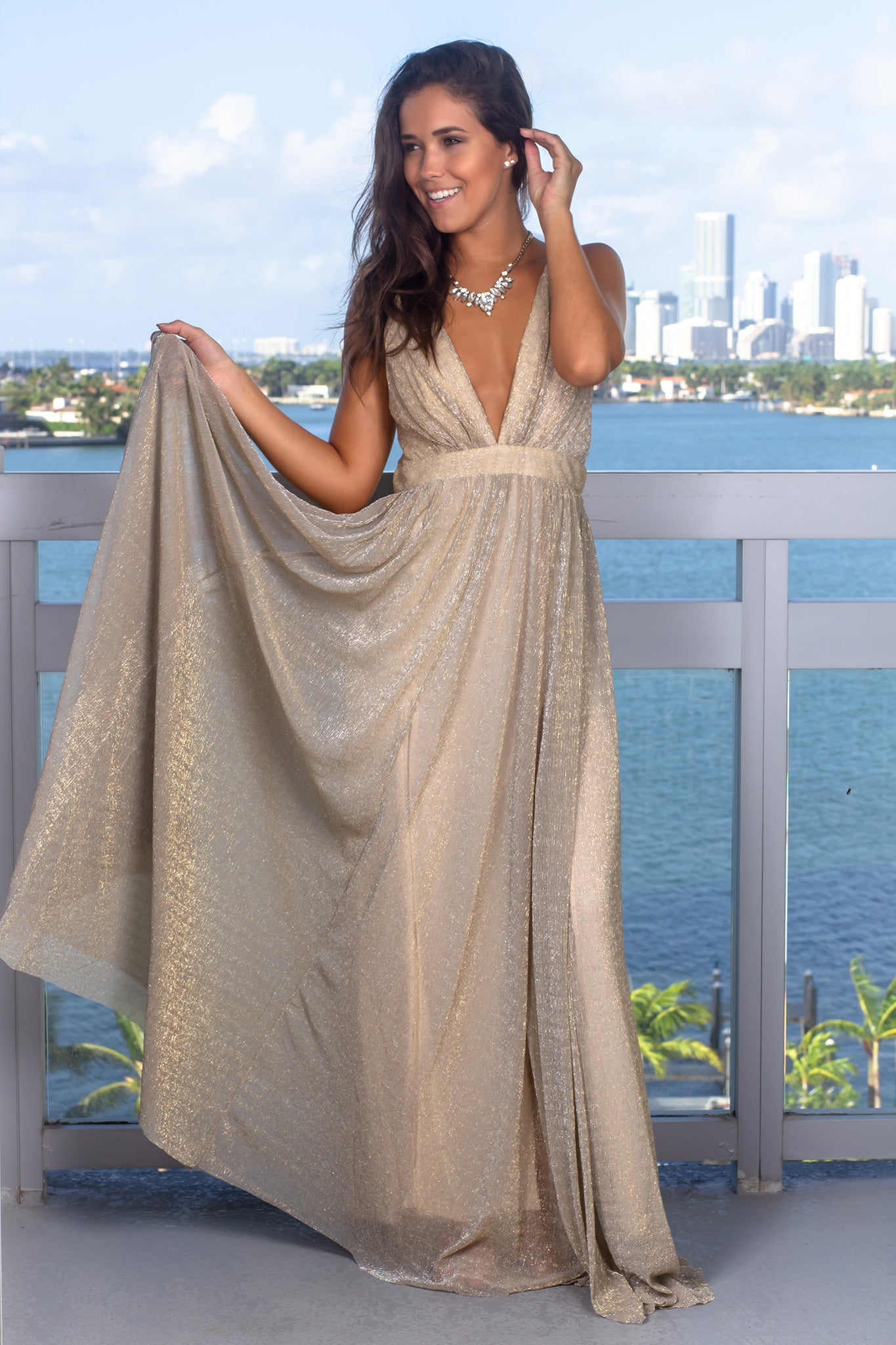 Ivory Maxi Dress with Shimmer Detail