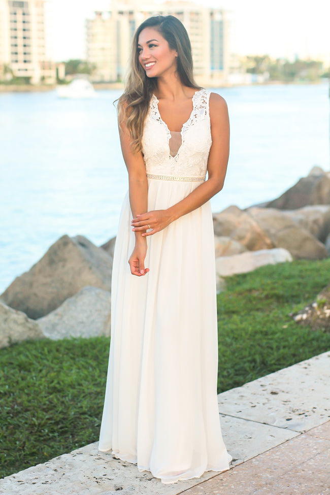 Ivory Maxi Dress with Waist Detail