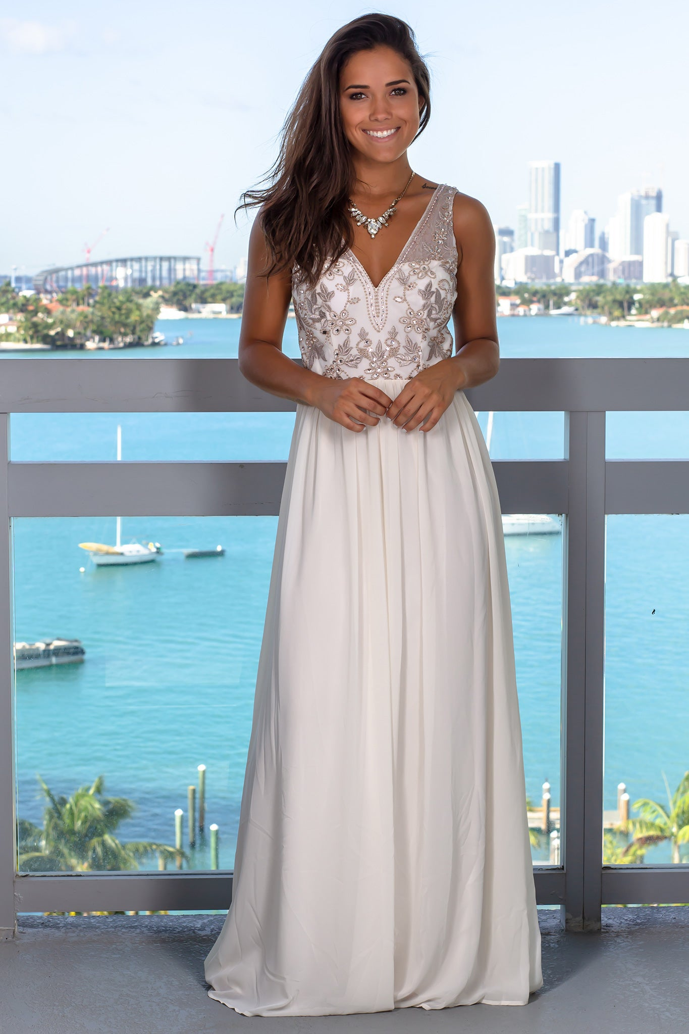 Ivory Mesh V-Neck Top Maxi Dress with Embroidery