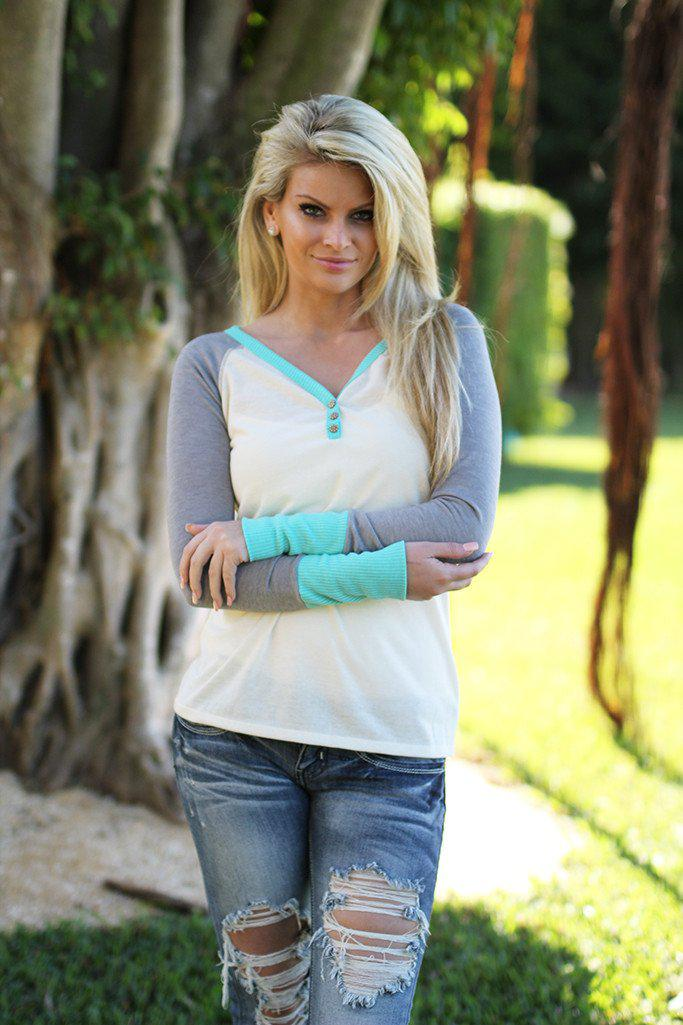 Ivory and Mint Top With Buttons