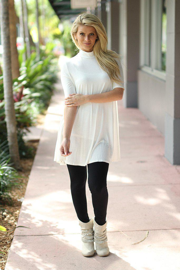 Ivory Mock Neck Tunic