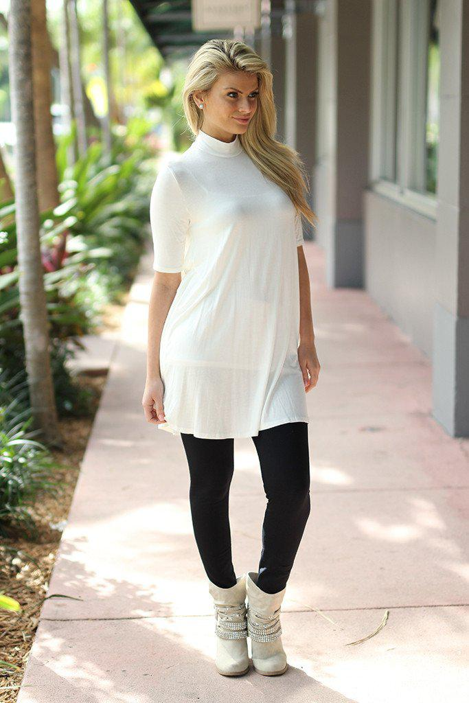 ivory 3/4 sleeve tunic