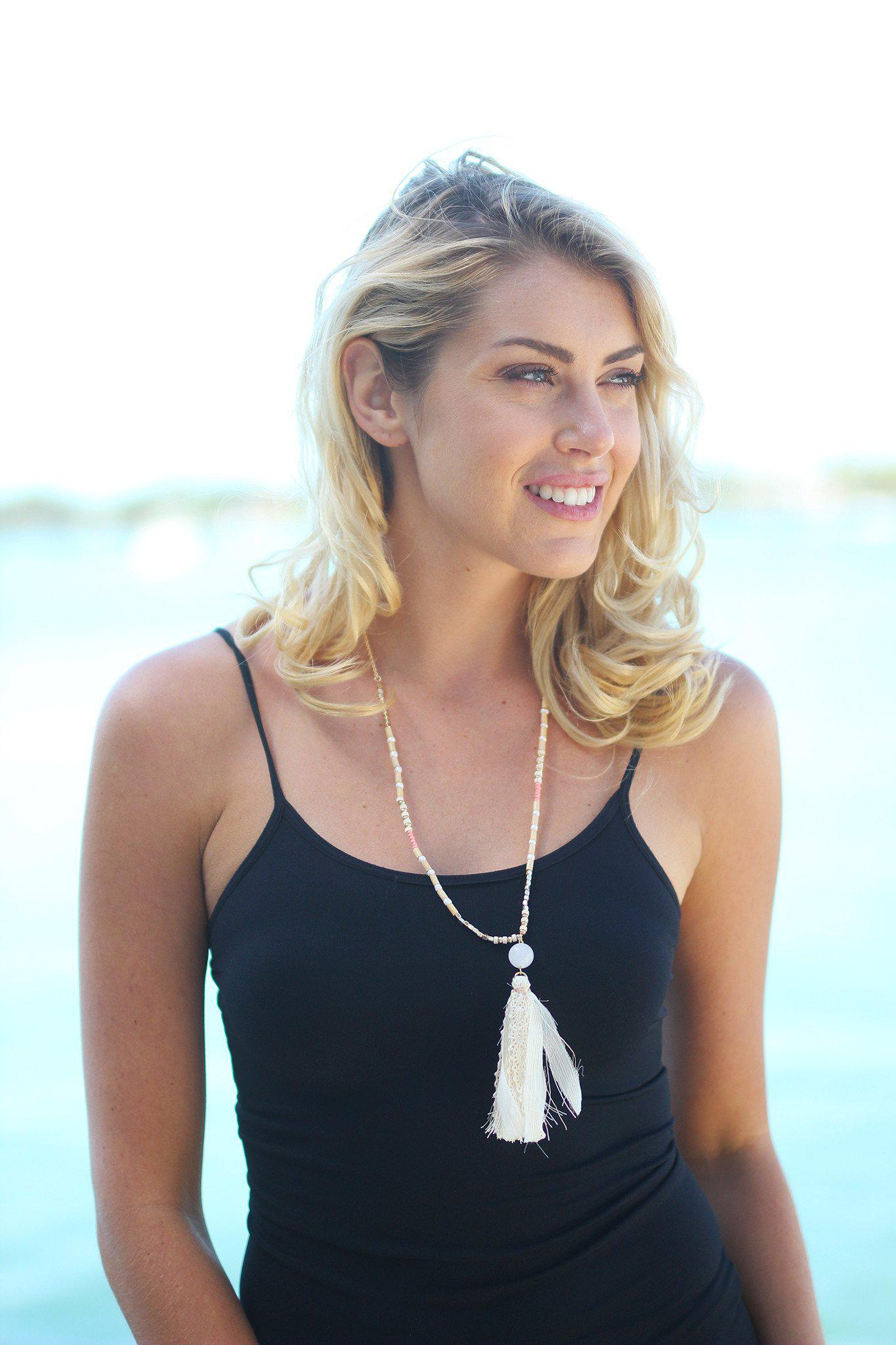 Ivory Wooded Tassel Necklace