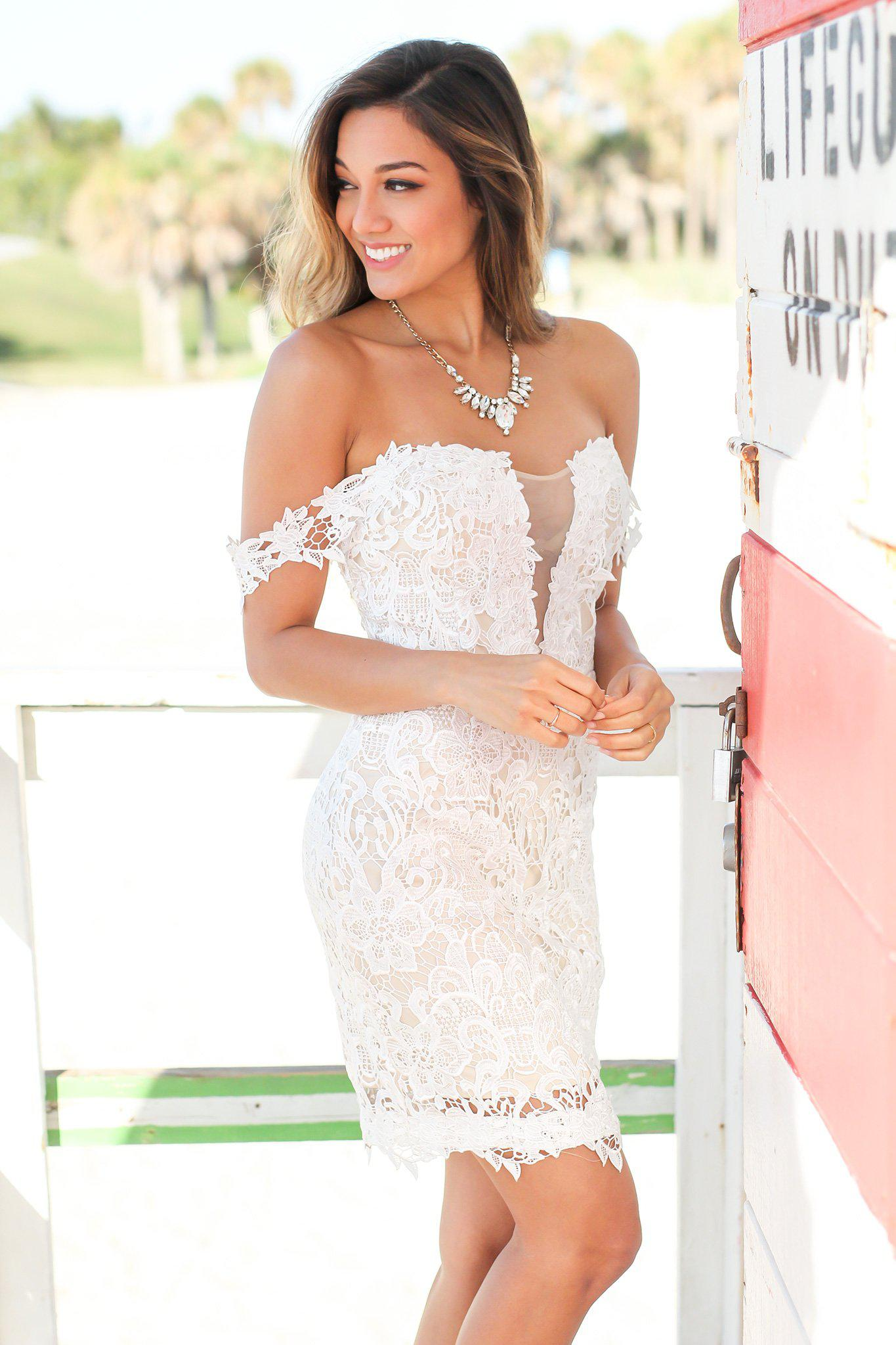 Ivory Off Shoulder Crochet Short Dress with Mesh Detail