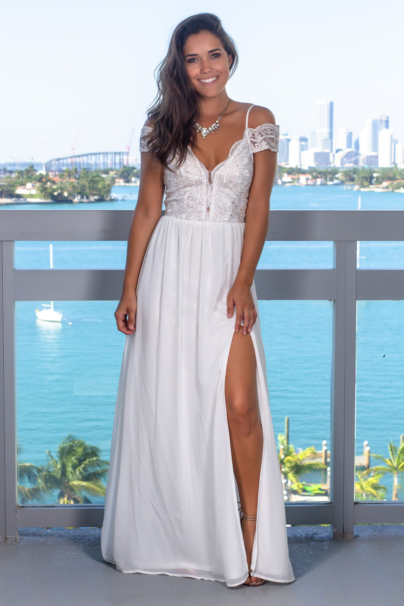 Ivory Off Shoulder Embroidered Maxi Dress with Side Slit