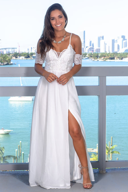 Ivory Off Shoulder Embroidered Top Maxi Dress