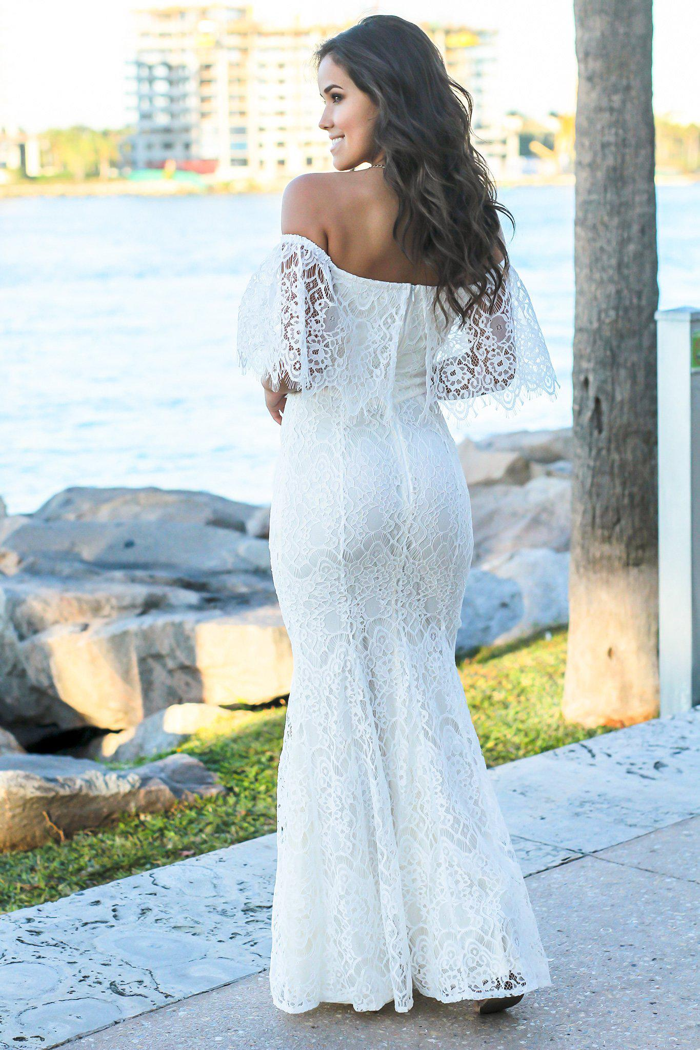 Ivory Off Shoulder Lace Maxi Dress