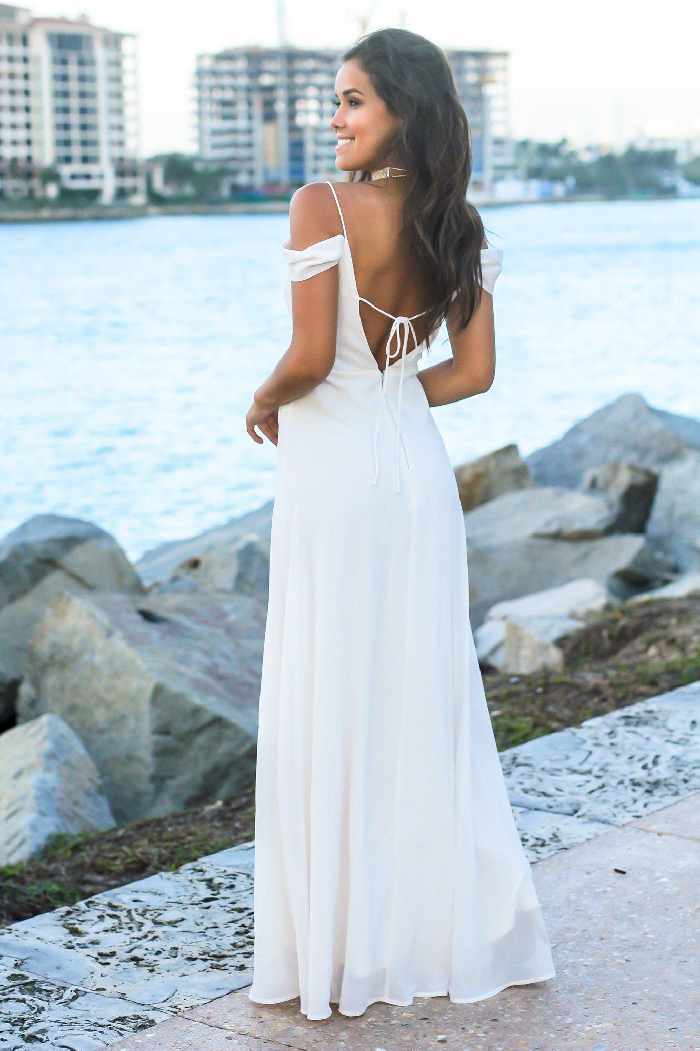 Ivory Off Shoulder Maxi Dress with Tie Back