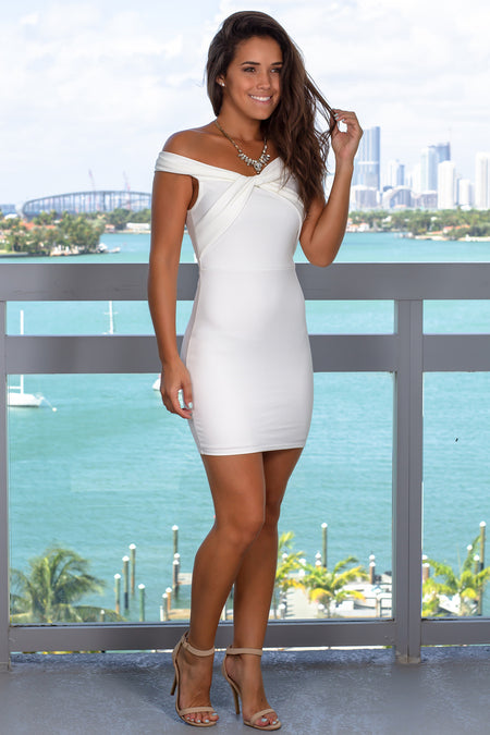 Ivory Off Shoulder Short Dress with Twist Detail