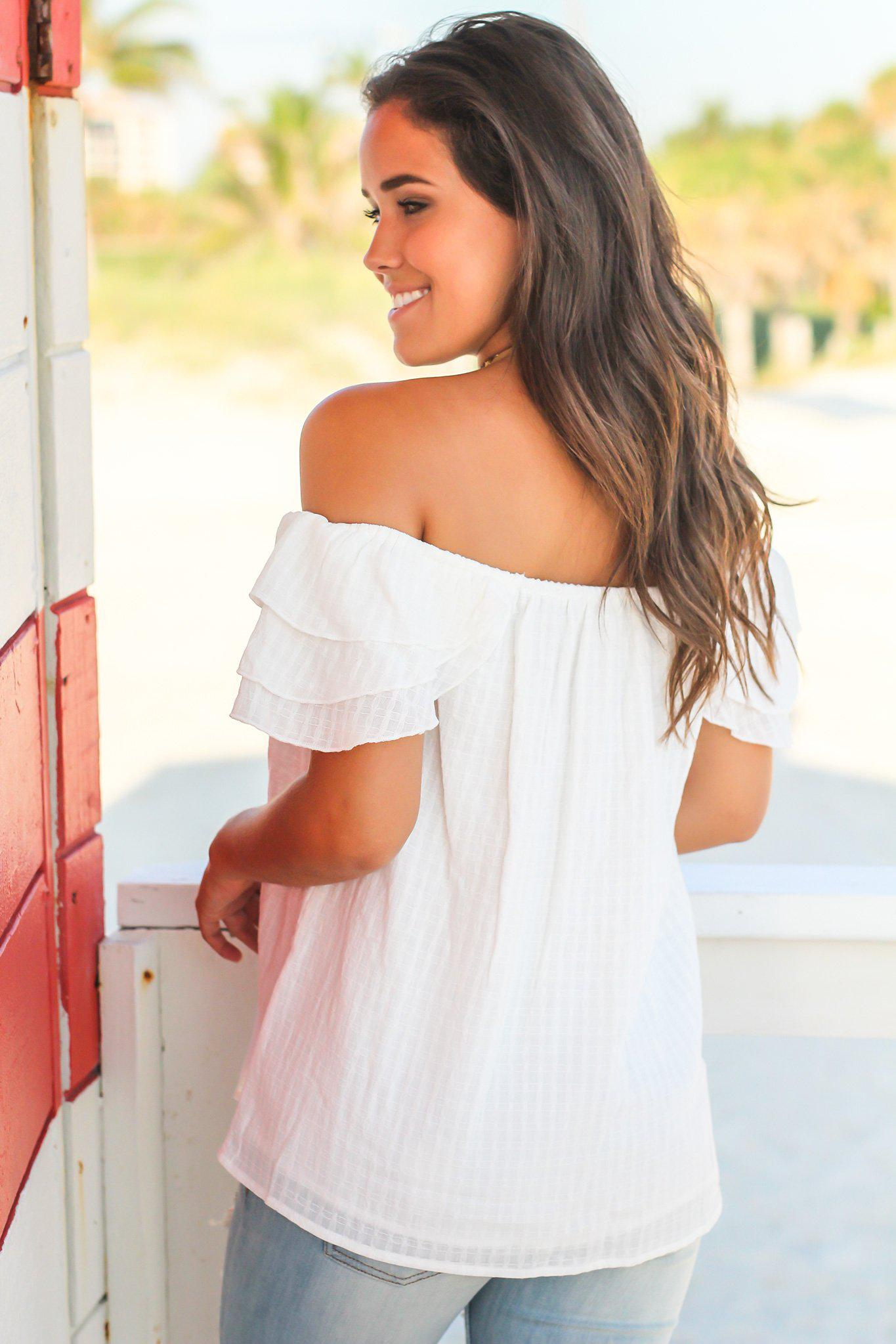 Ivory Off Shoulder Top with Short Ruffled Sleeves