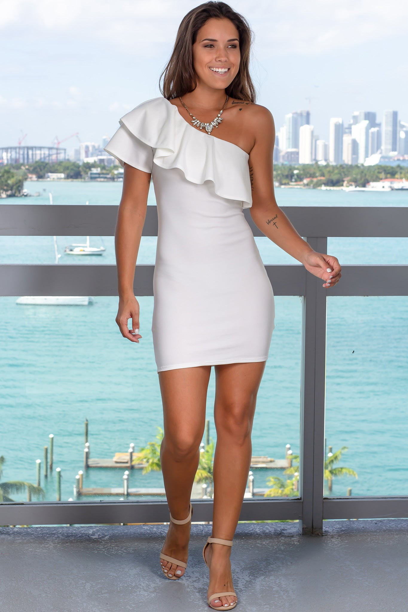 Ivory One Shoulder Short Dress