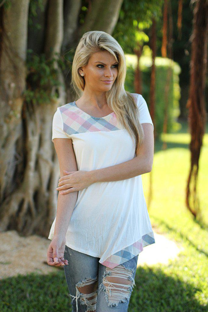 Ivory and Plaid Asymmetrical Top