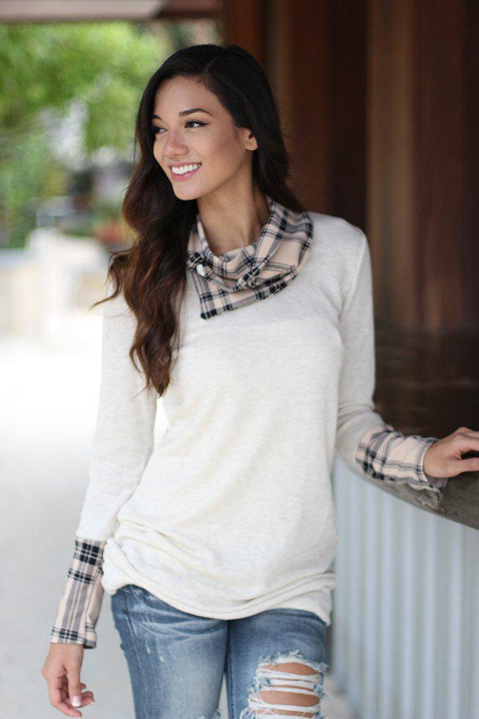 Ivory Plaid Top With Cowl Neck