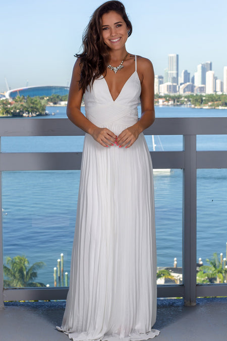 Ivory Pleated Maxi Dress with Criss Cross Back