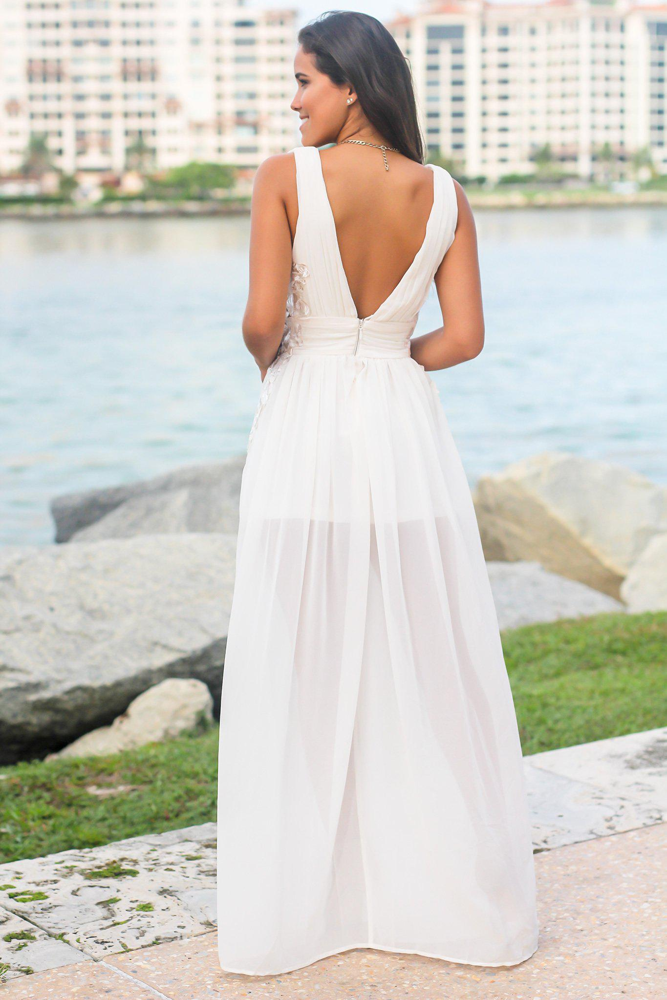 Ivory Pleated Maxi Dress with Embroidered Sides