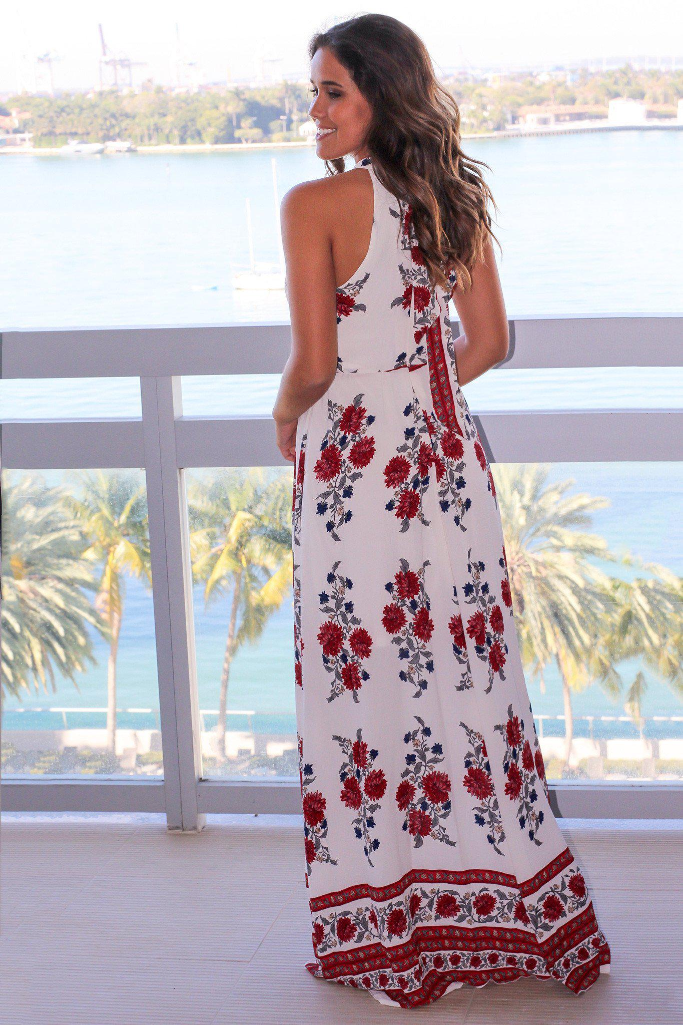 Ivory Printed Halter Neck Maxi Dress