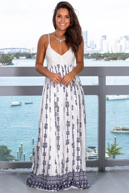 Ivory Printed Maxi Dress with Crochet Top