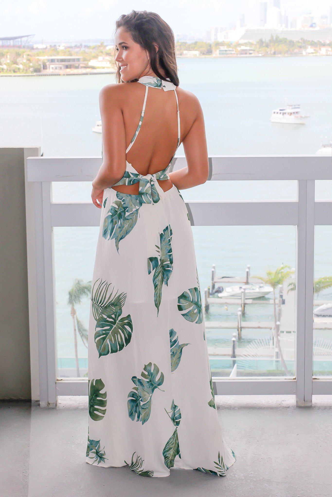 Ivory Printed Maxi Dress with Open Back