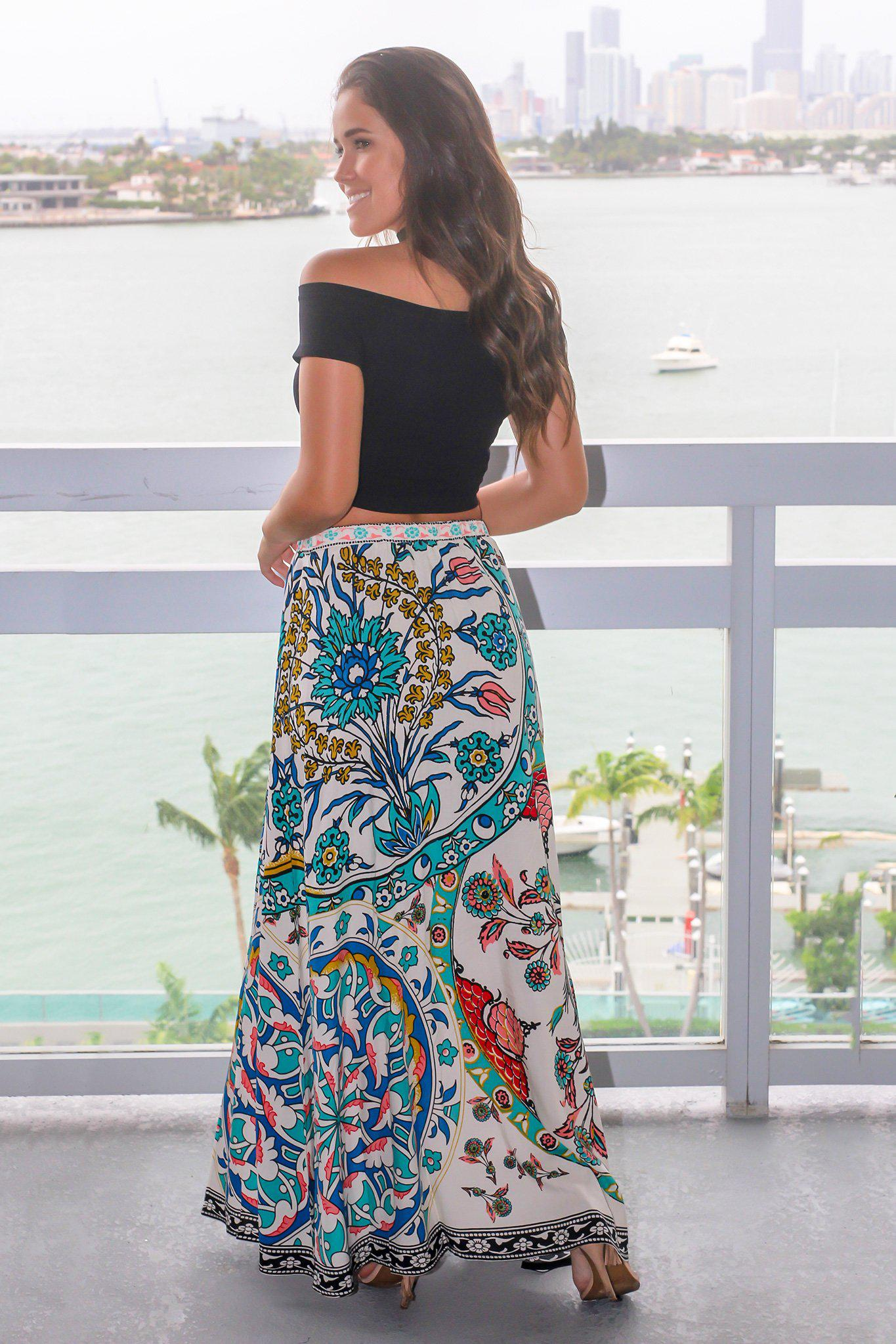 Ivory Printed Maxi Skirt