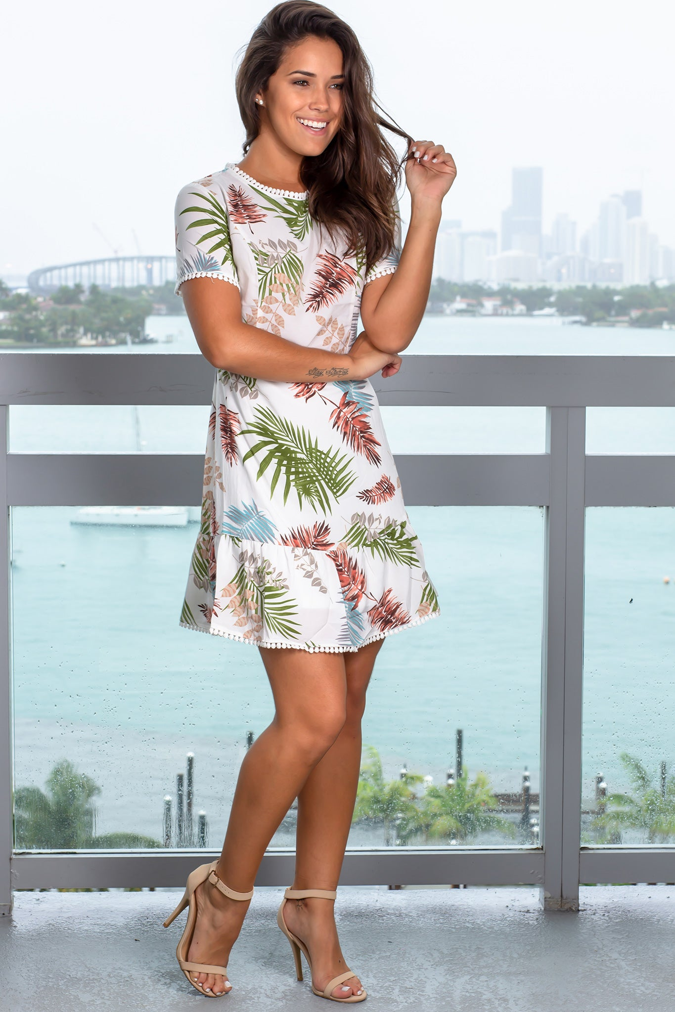 Ivory Printed Short Dress with Strappy Back