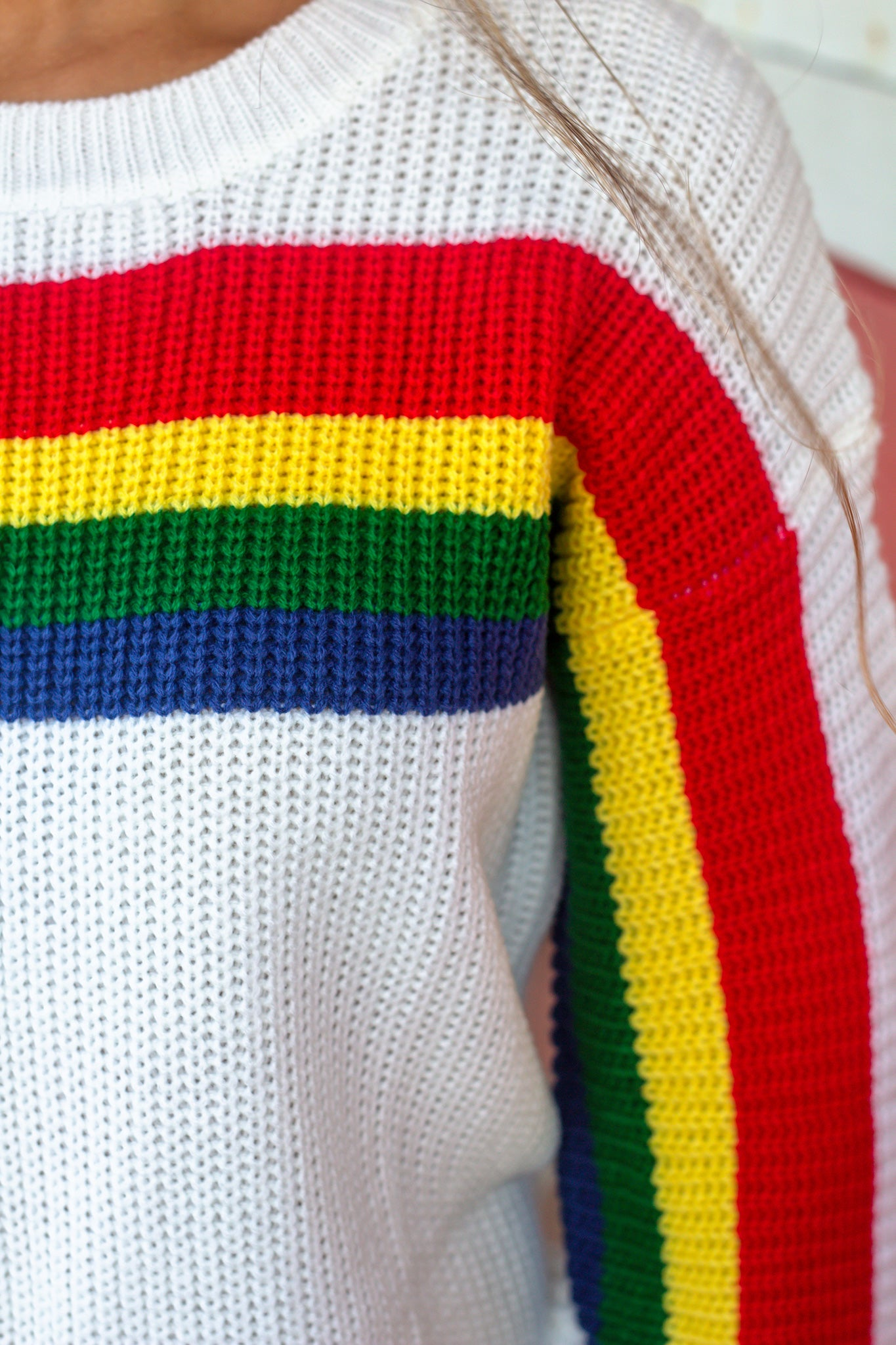 Ivory Rainbow Knit Sweater