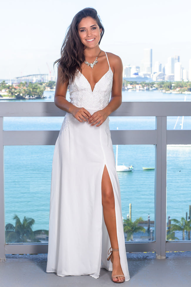 Ivory Rhinestone Embroidered Top Maxi Dress
