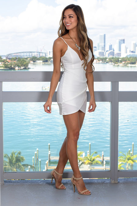 Ivory Ruched V-Neck Short Dress