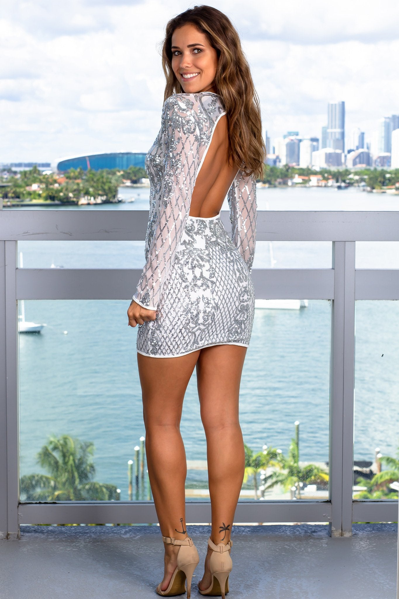 Ivory Sequin Short Dress with Sleeves