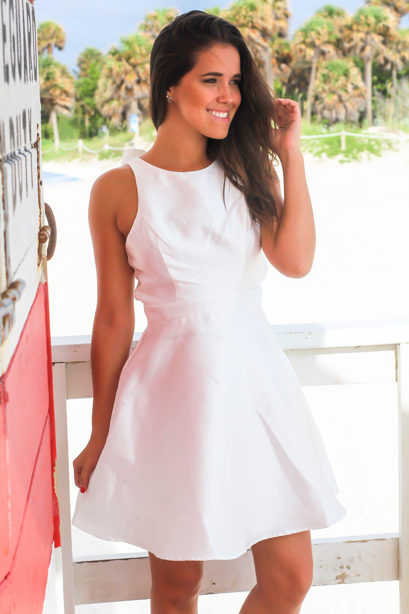 Ivory Short Dress with Bow Detail