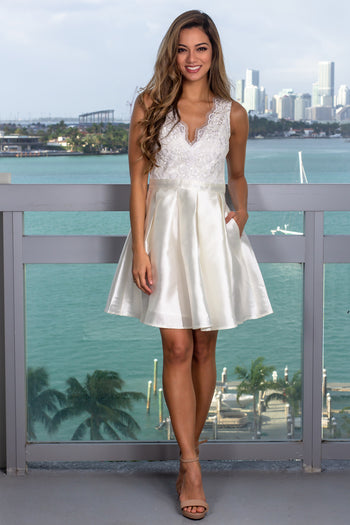 Ivory Short Dress with Embroidered Mesh Back Detail