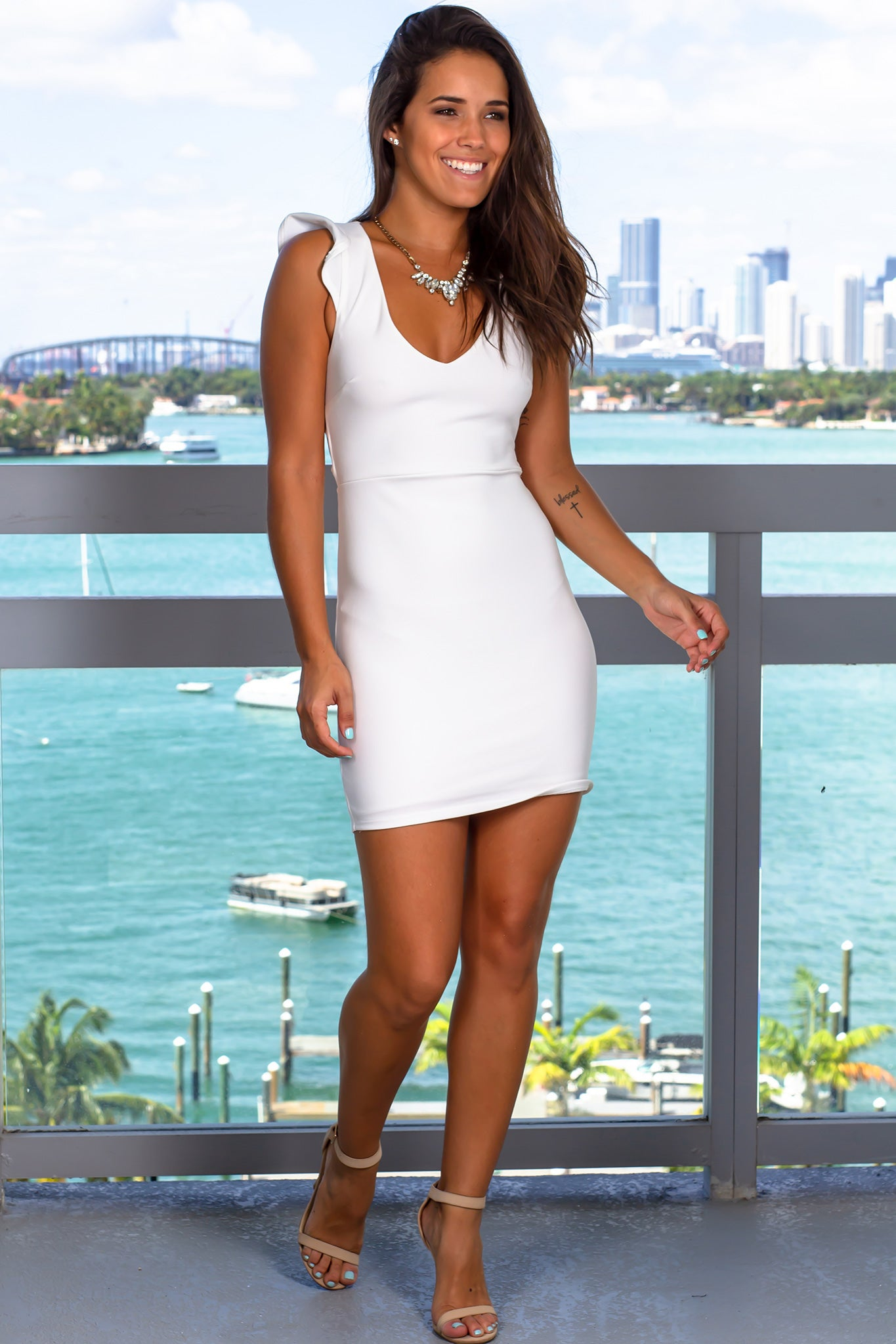 Ivory Short Dress with Lace Up Back