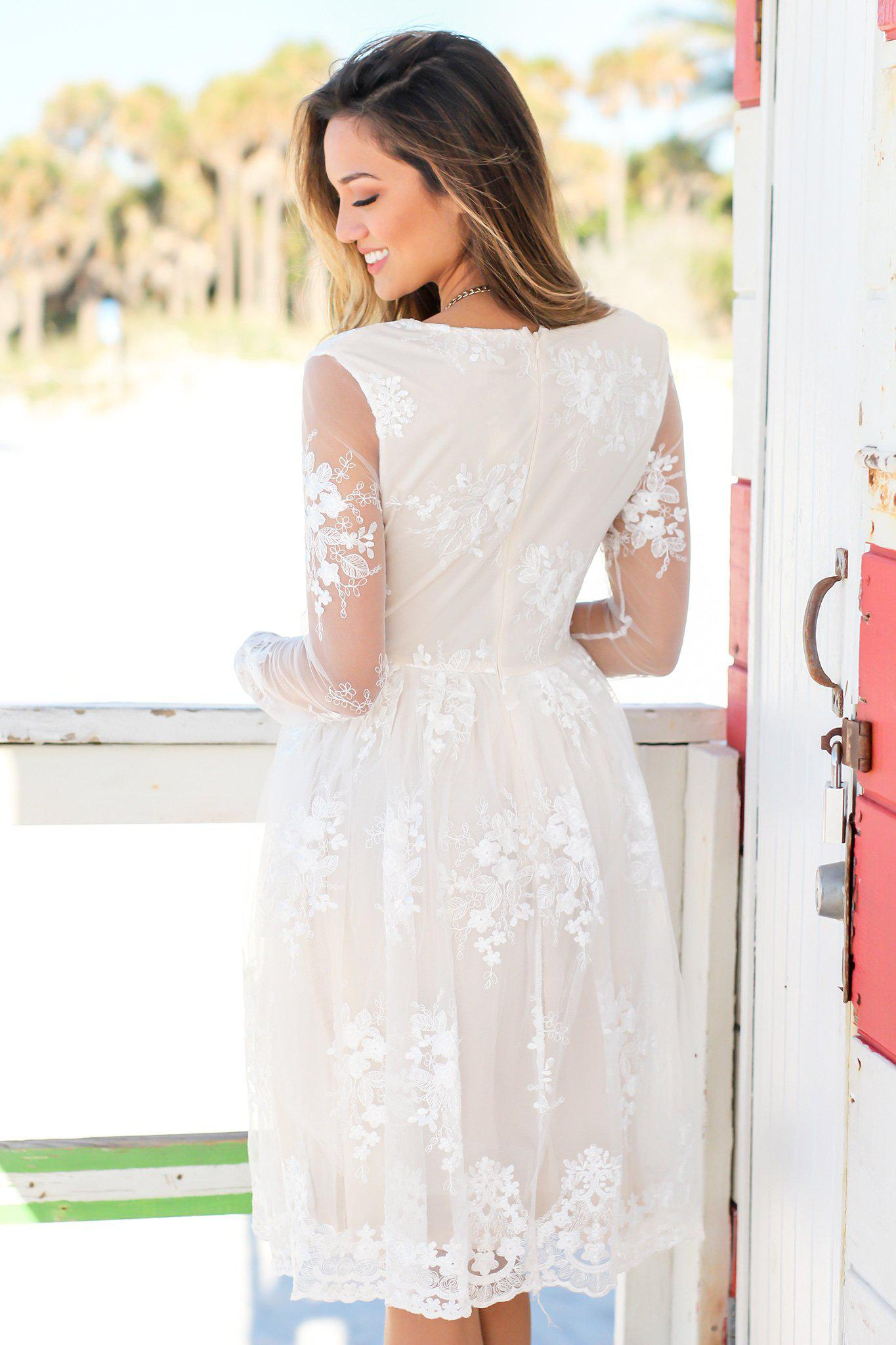 Ivory Short Dress with Mesh Embroidered Sleeves