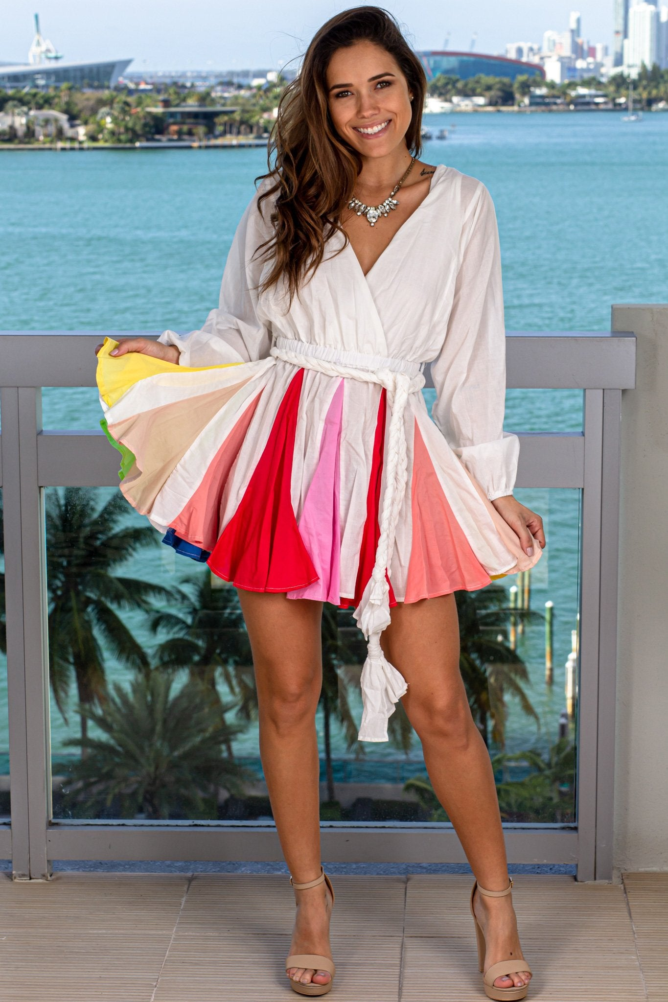 Ivory Short Dress with Rainbow Skirt