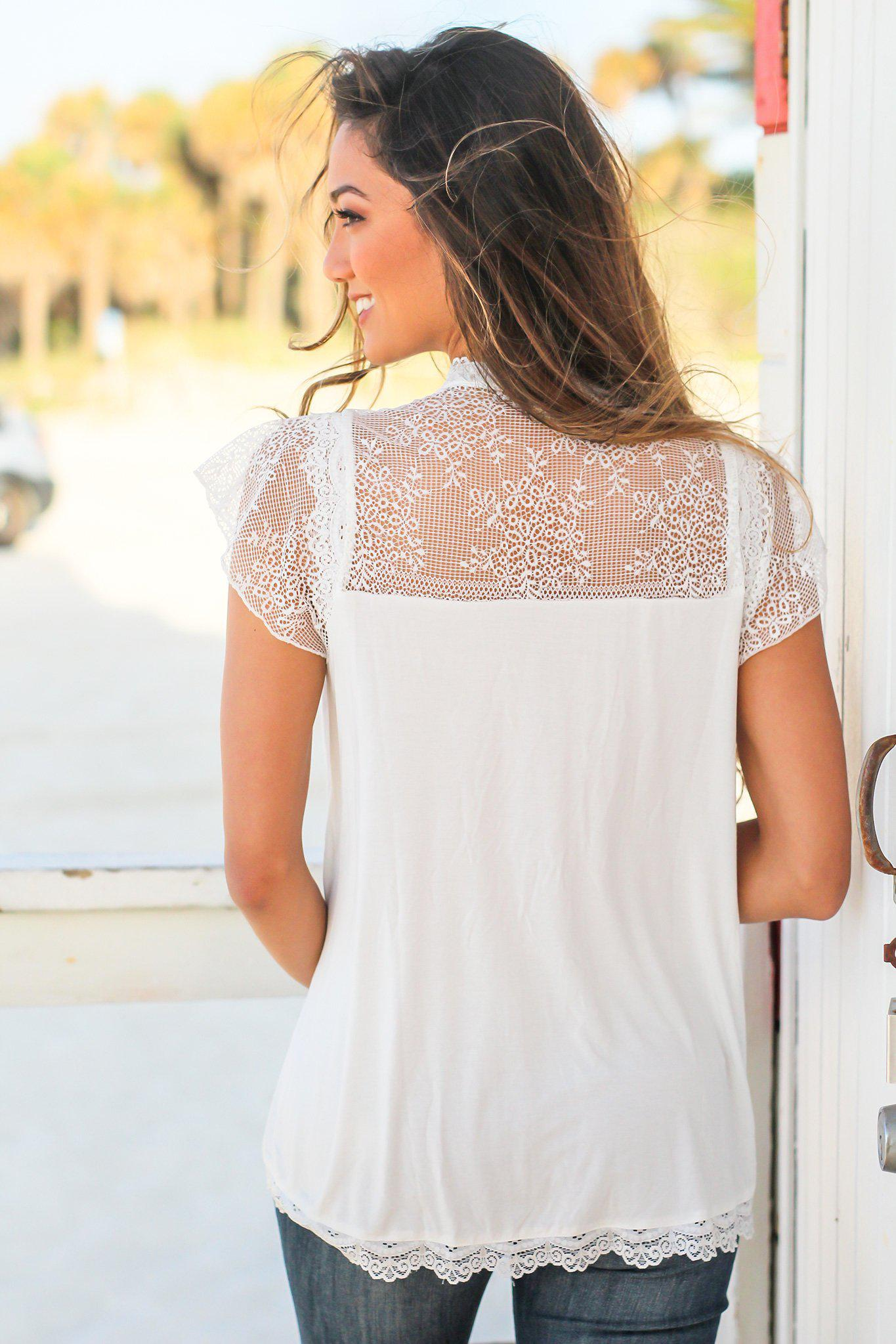 Ivory Short Sleeve Top with Crochet Detail
