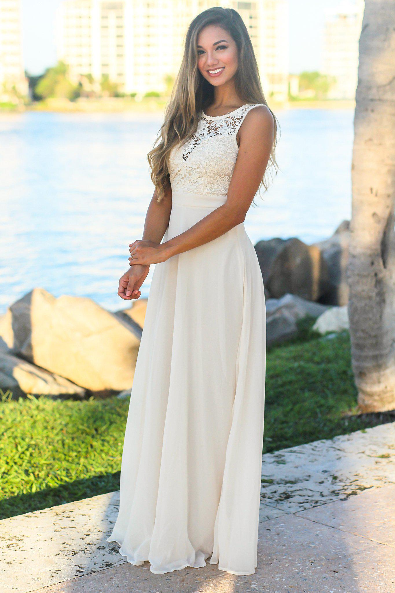 Ivory Sleeveless Maxi Dress with Crochet Top