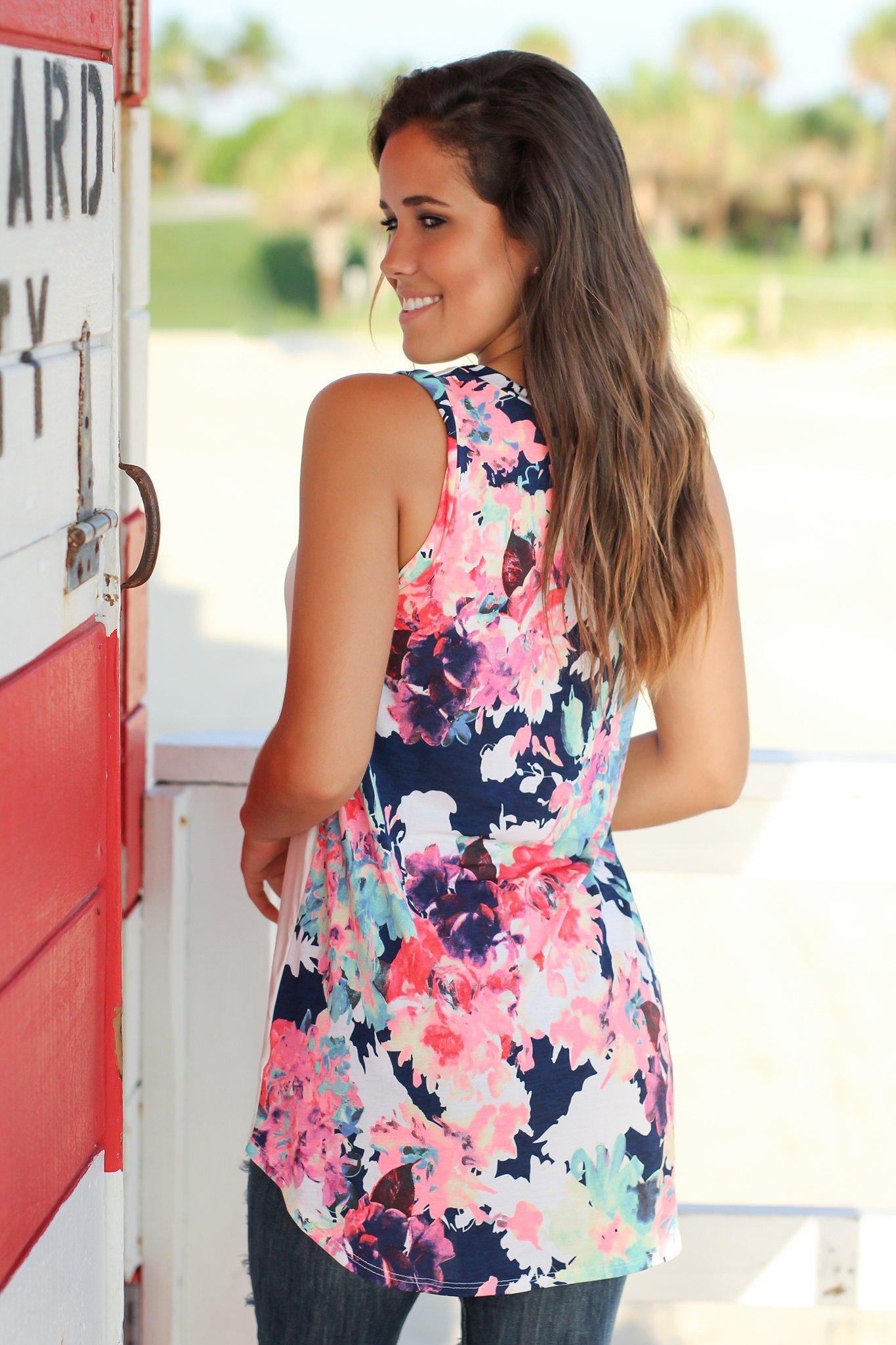 Ivory Sleeveless Top with Floral Back