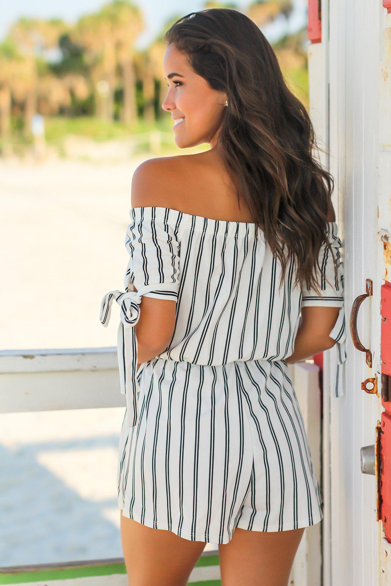 Ivory Striped Off Shoulder Romper