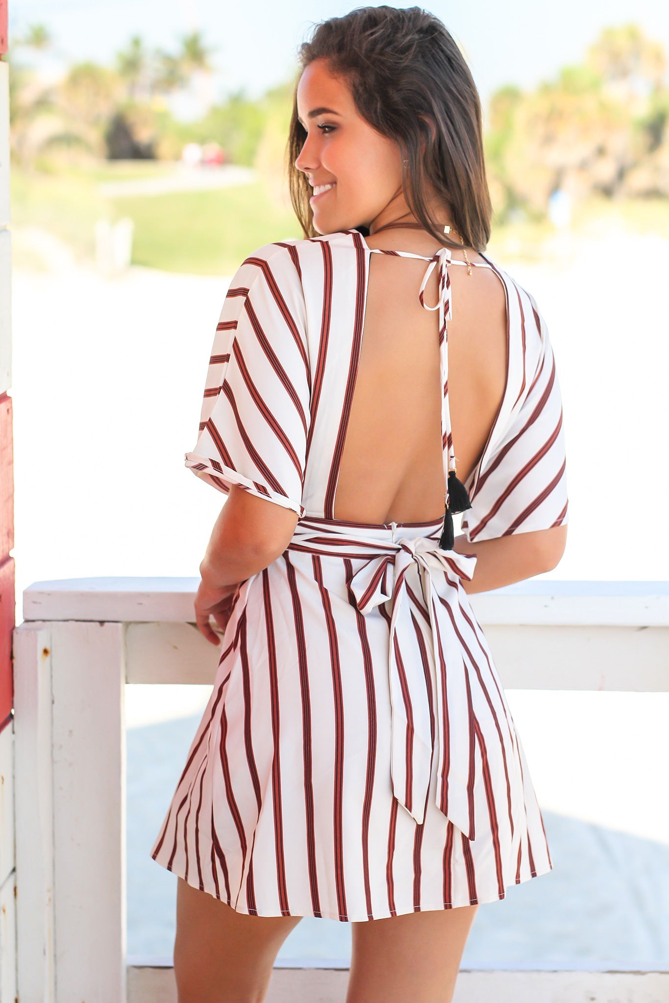 Ivory Striped Short Dress with Buttons