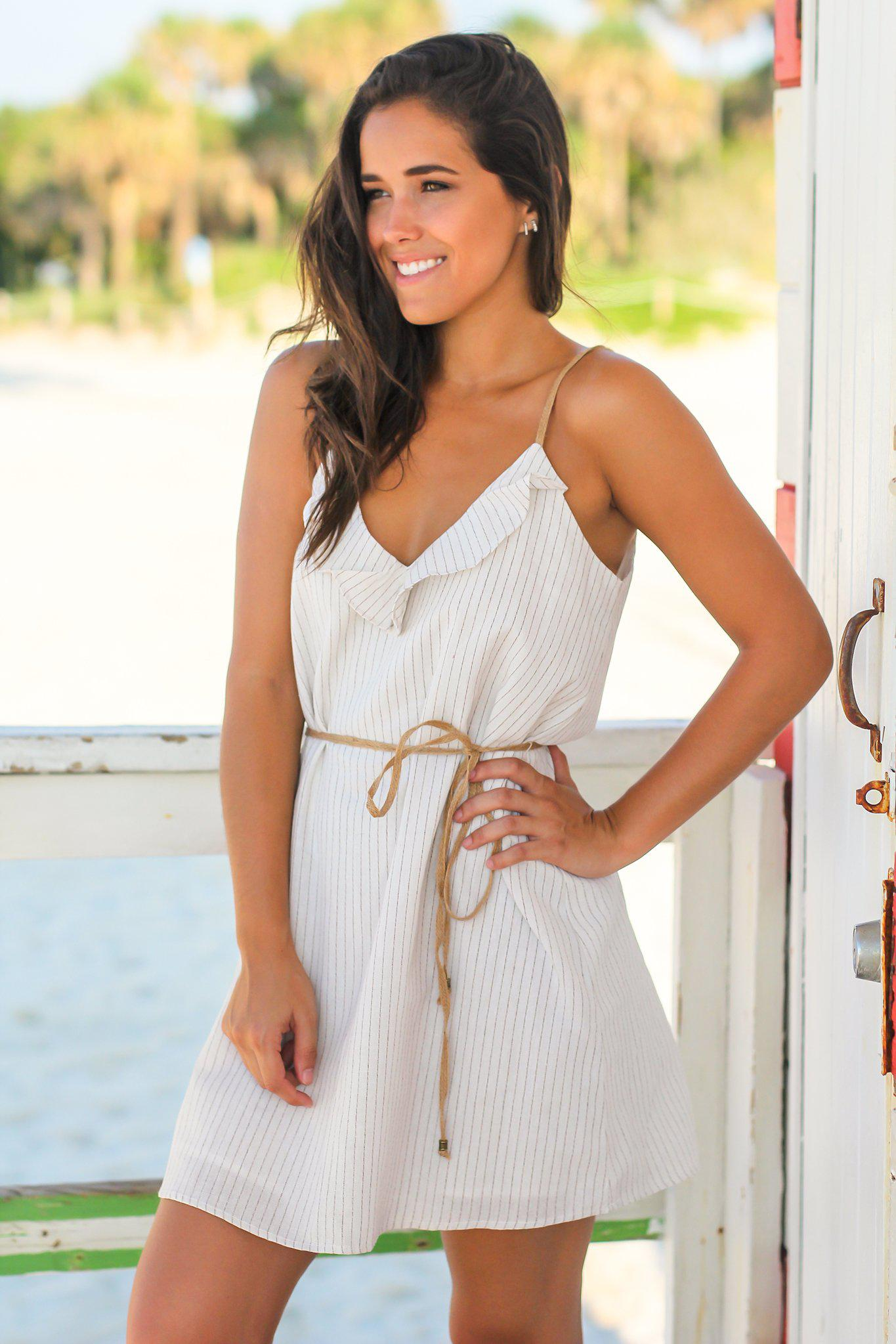 Ivory Striped Short Dress with Strappy Back