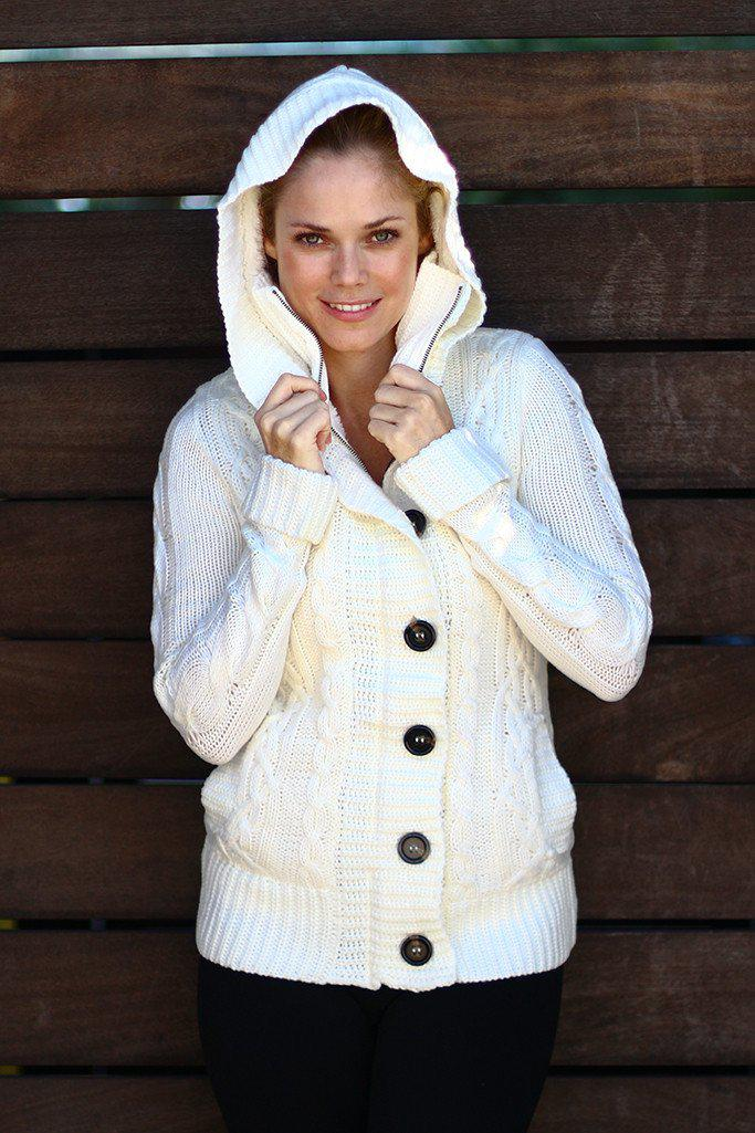 Ivory Sweater With Fur Hood