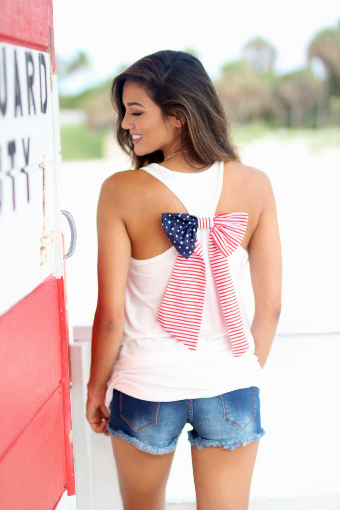 ivory tank top with american flag bow