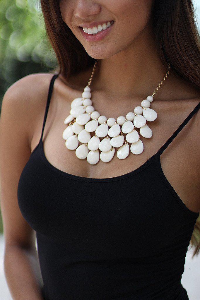 Ivory Teardrop Beaded Necklace