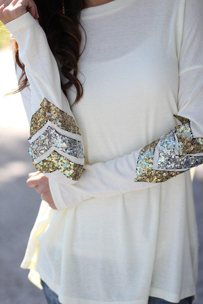 Ivory Top With Chevron Sequins