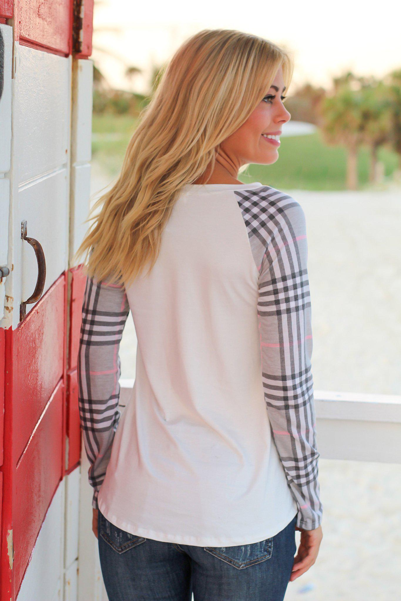 Ivory Top with Gray Plaid Sleeves