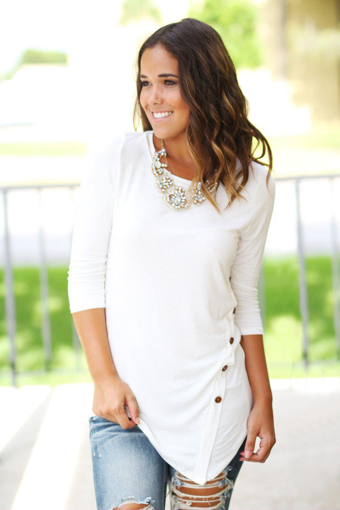 Ivory Top With ¾ Sleeves And Buttons