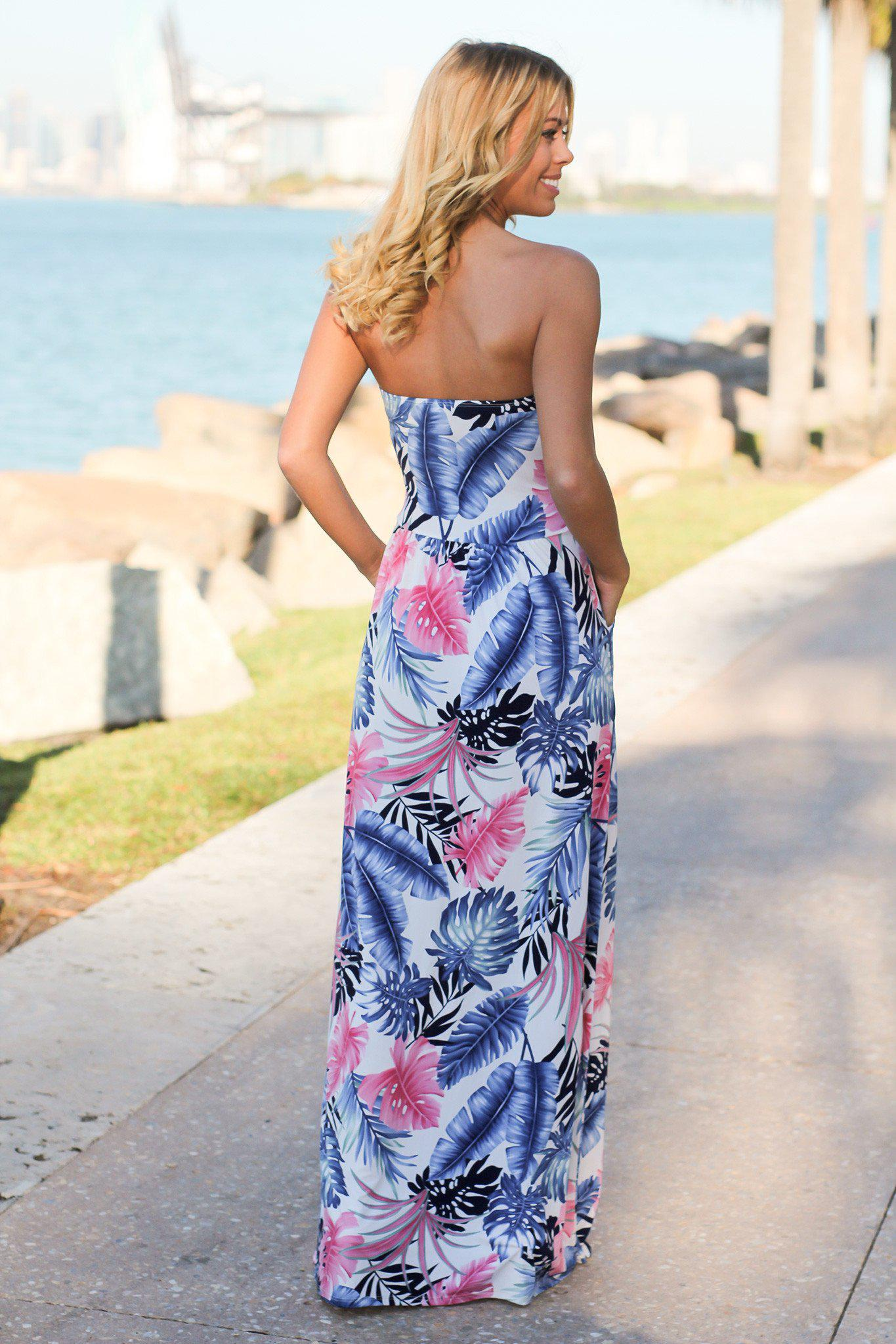 Ivory Tropical Maxi Dress