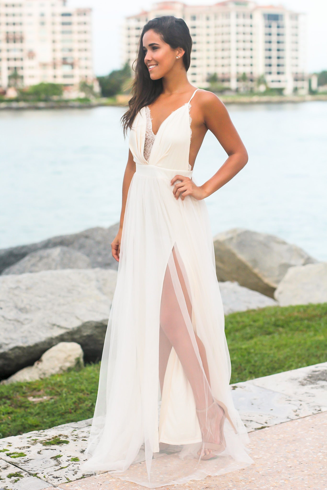 Ivory Tulle Maxi Dress with Lace Detail
