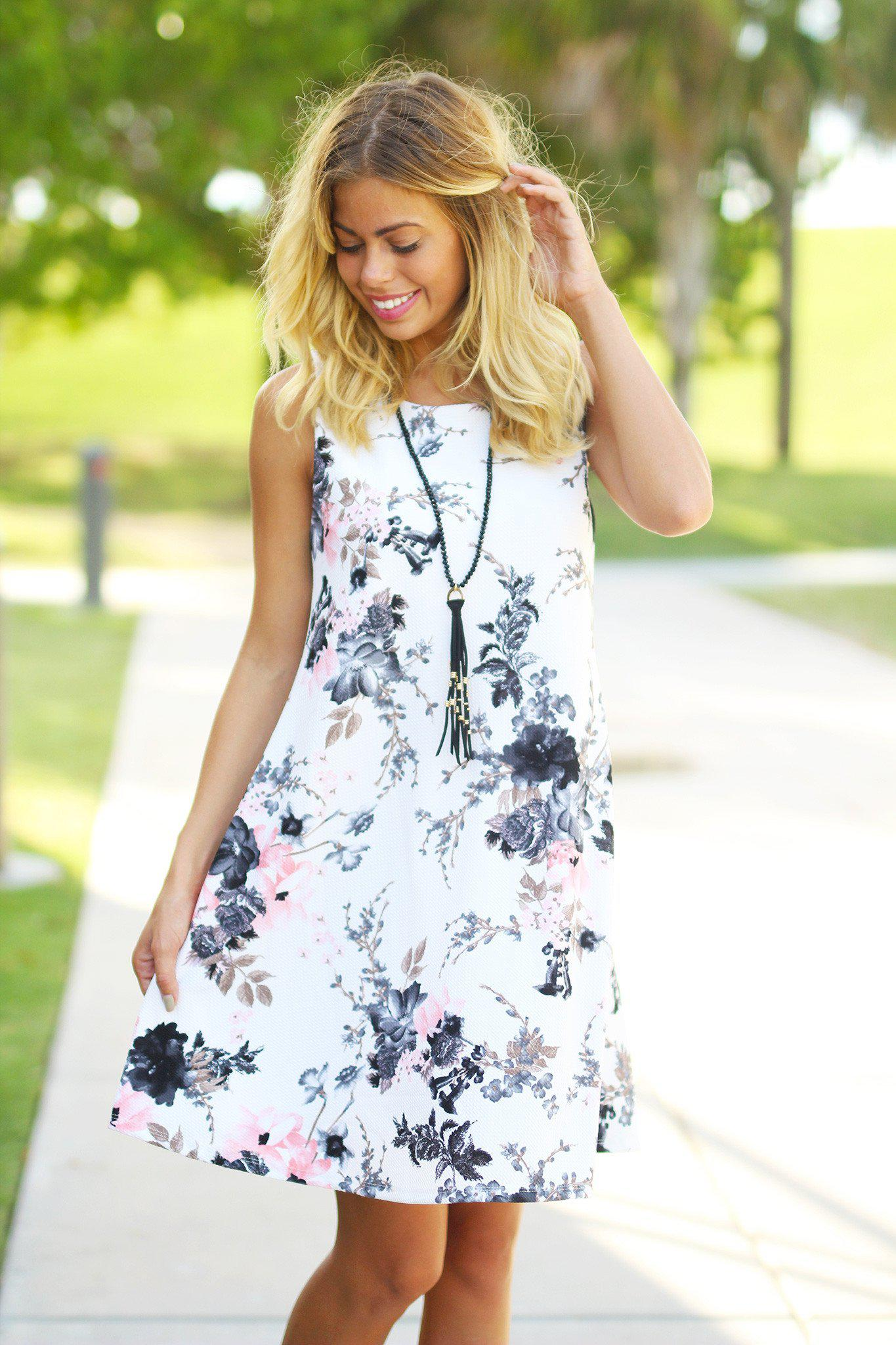 Ivory Floral Tunic Dress