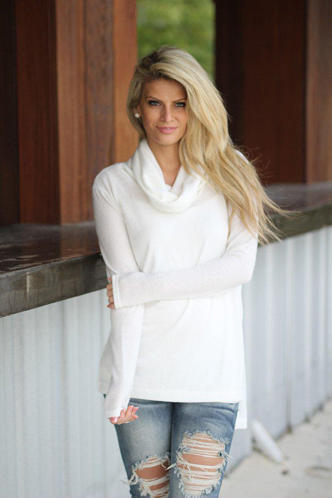 Ivory Turtle Neck High-Low Top