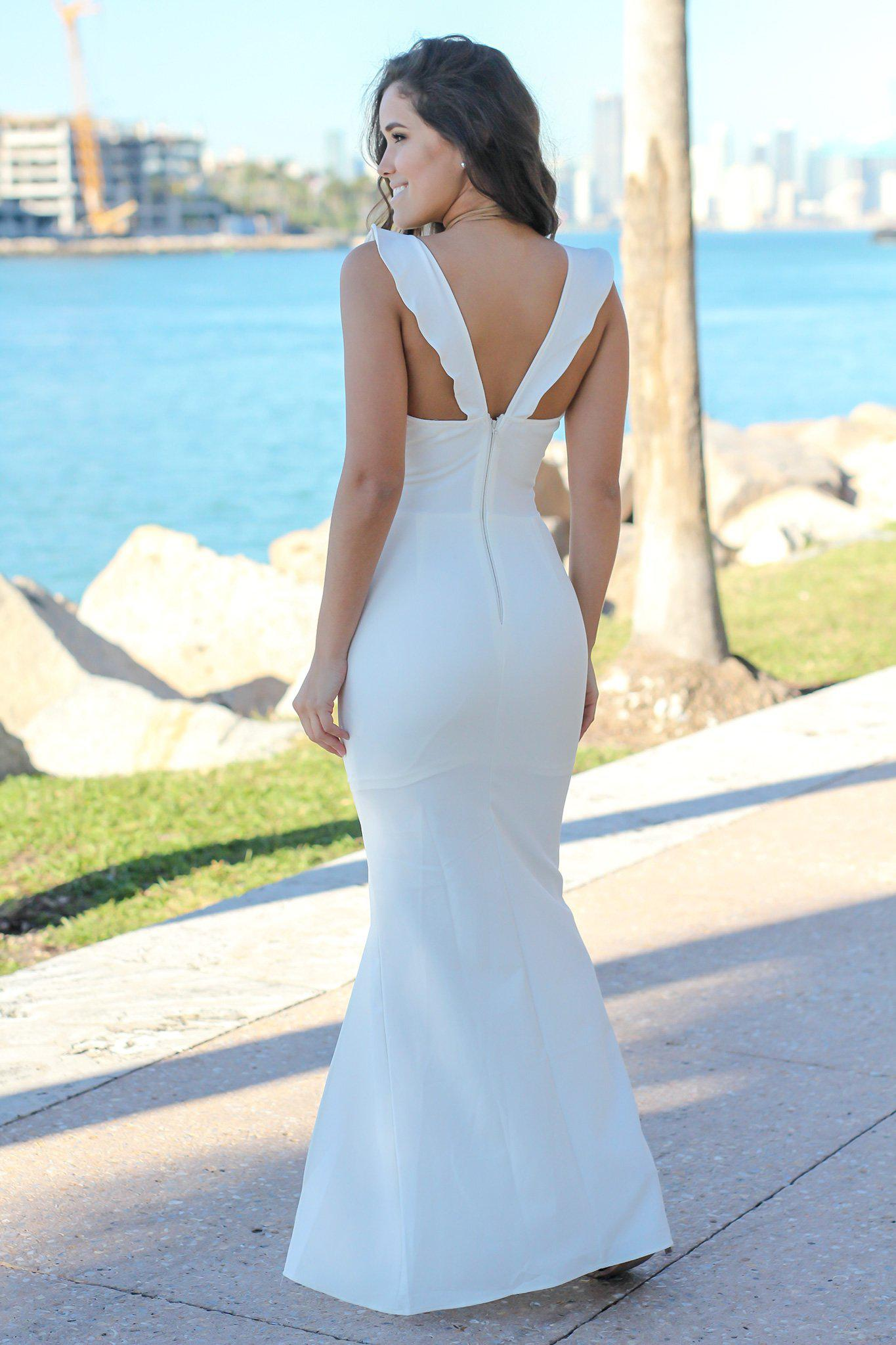 Ivory V-Neck Maxi Dress with Ruffle Detail